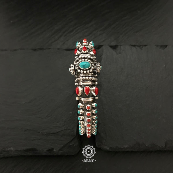 Handcrafted 92.5 Sterling Silver kada with amalgamated coral turquoise and pearl stones