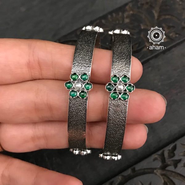 Green Stone Silver Bangles (Size 2.6)