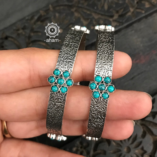 Turquoise Silver Bangles (Size 2.6)