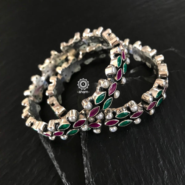 Green and Maroon Stone Bangles