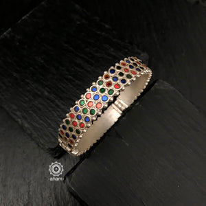 Handcrafted Silver kada with Glass work