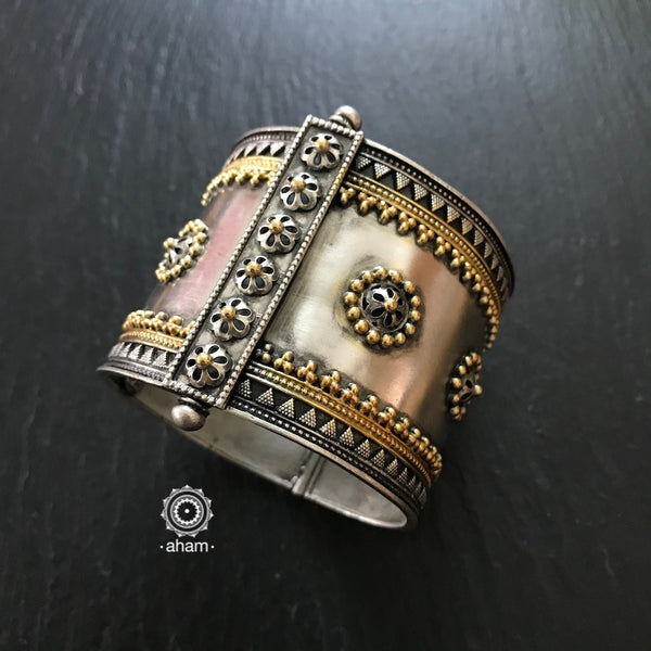 One of a kind statement wearable art pieces.  Silver hand kada with two tone gold polish kundan work.   The price is for one piece kada only.