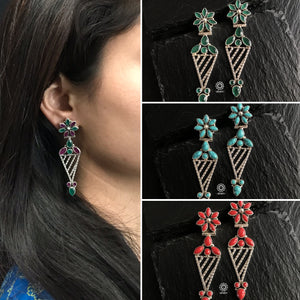 Light Weight Coloured Stone Silver Earring. The grid image depicts the other colours in this design and model image for size reference.