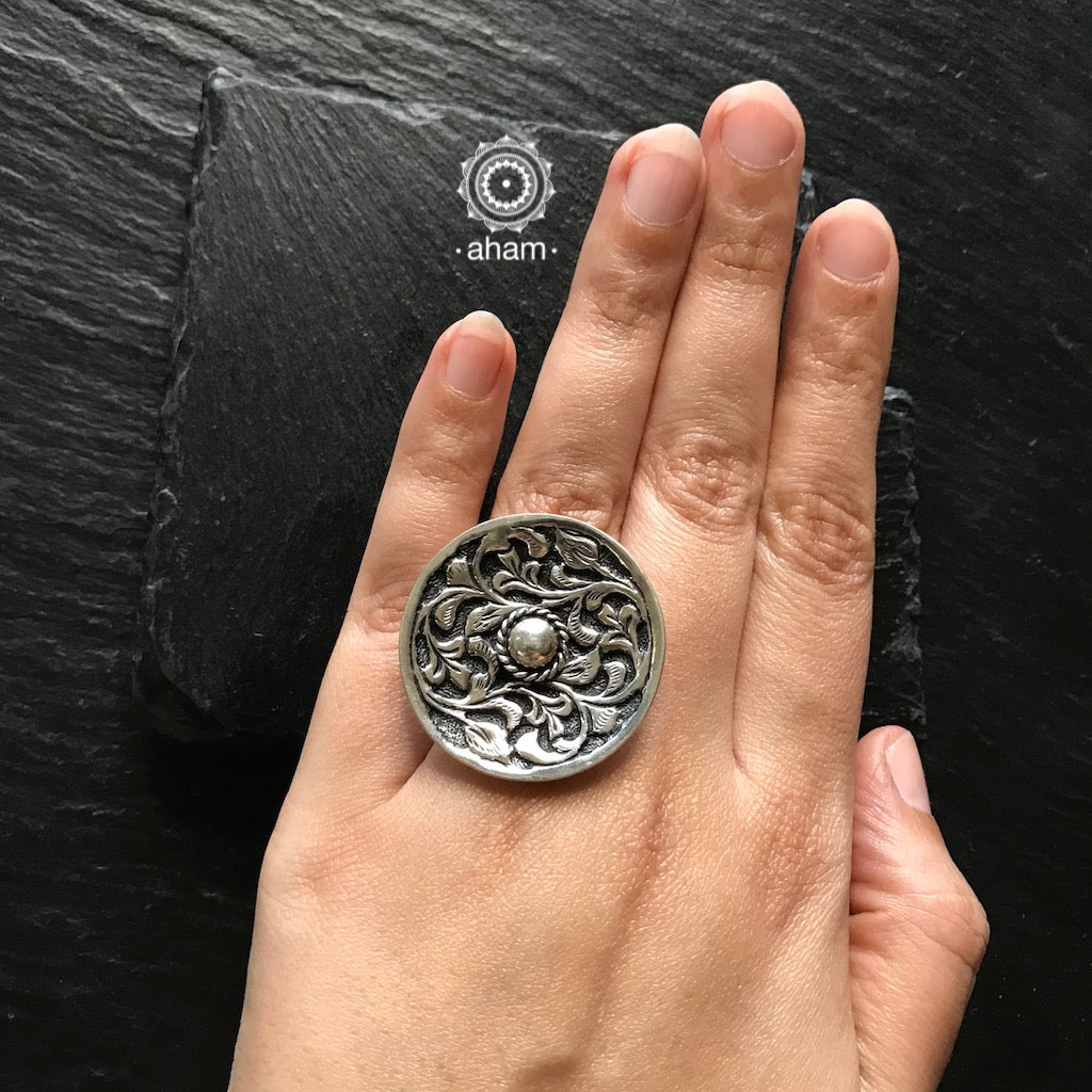 Silver Rings with beautiful Chitai Work in 92.5 sterling silver.