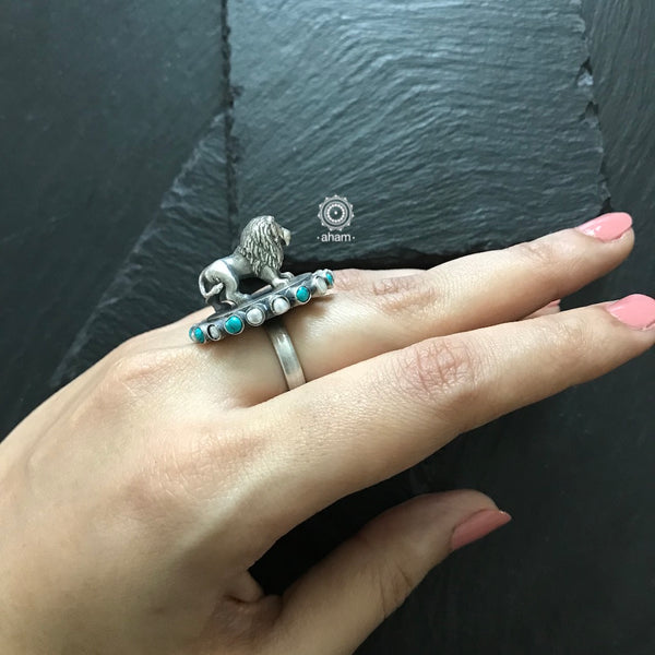 Statement 3D Lion Ring in 92.5 Sterling silver with pearl and turquoise stones.