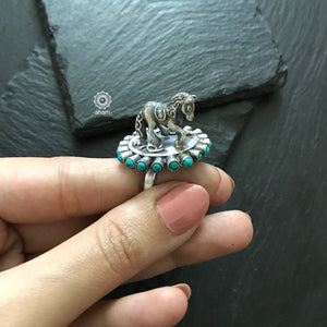 Statement 3D Horse Ring in 92.5 Sterling silver.  with Turquoise stones.