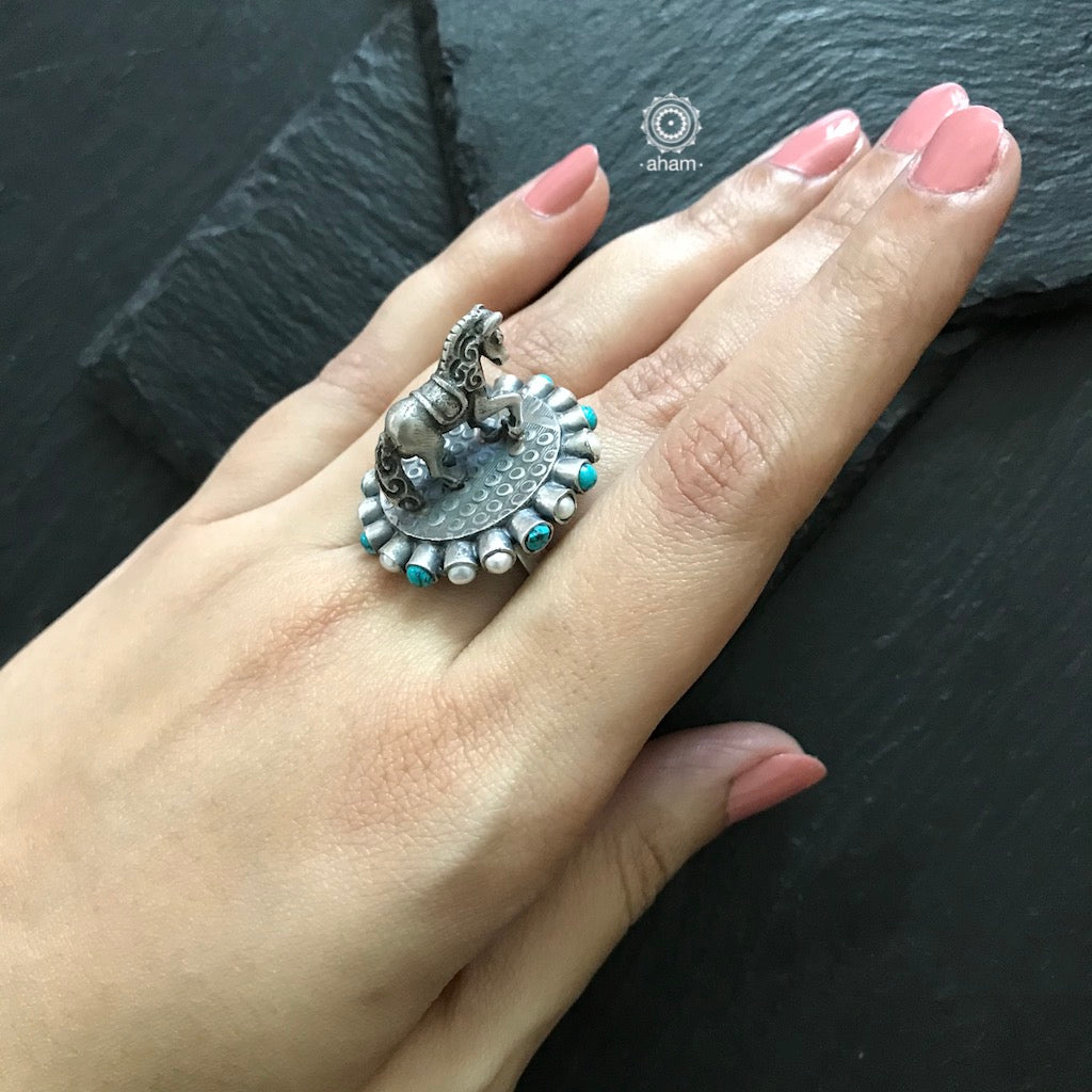 Statement 3D Horse Ring in 92.5 Sterling silver.  with Pearl and Turquoise stones.