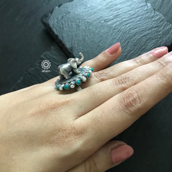 Statement 3D Elephant Ring in 92.5 Sterling silver.  with Pearl and Turquoise stones.