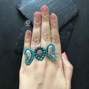 Silver Two Finger Blue Fish Ring