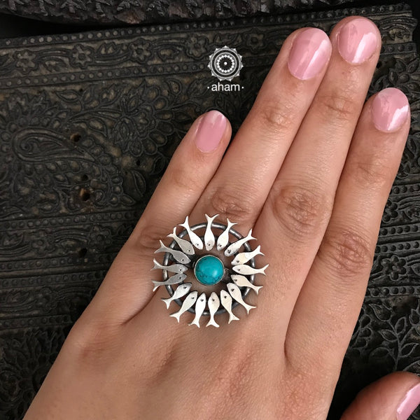 Silver Fish Ring with Turquoise
