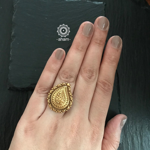 Gold Polish Paisley Silver Ring
