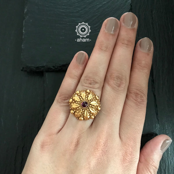 92.5 Sterling Silver Ring with Gold polish