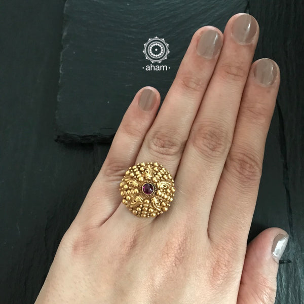 Gold Polish Silver Ring