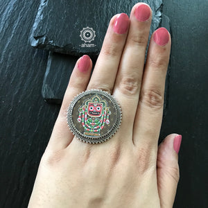 Hand Painted Jagannath Silver Ring