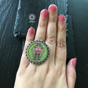 Hand Painted Silver Ring
