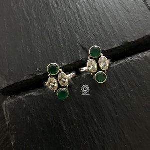 92.5 Silver Adjustable Toe rings with stone setting