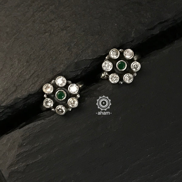 Green and Zircon Silver Toe Ring