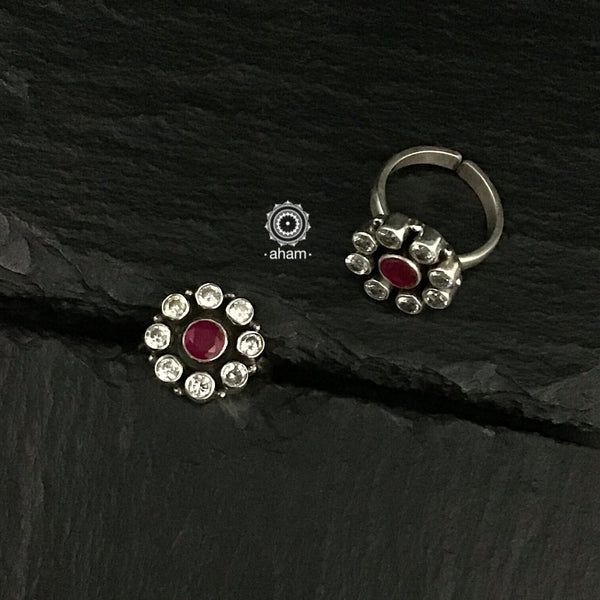 Zircon and Maroon Stone Silver Toe Ring