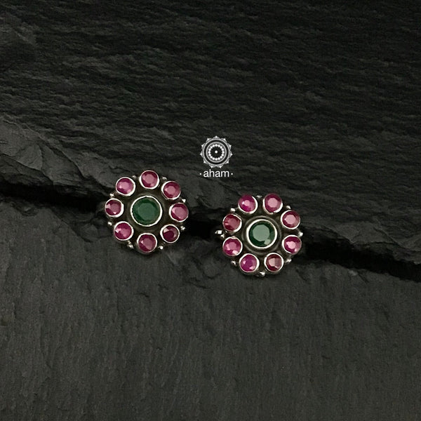 Maroon and Green Stone Silver Toe Ring