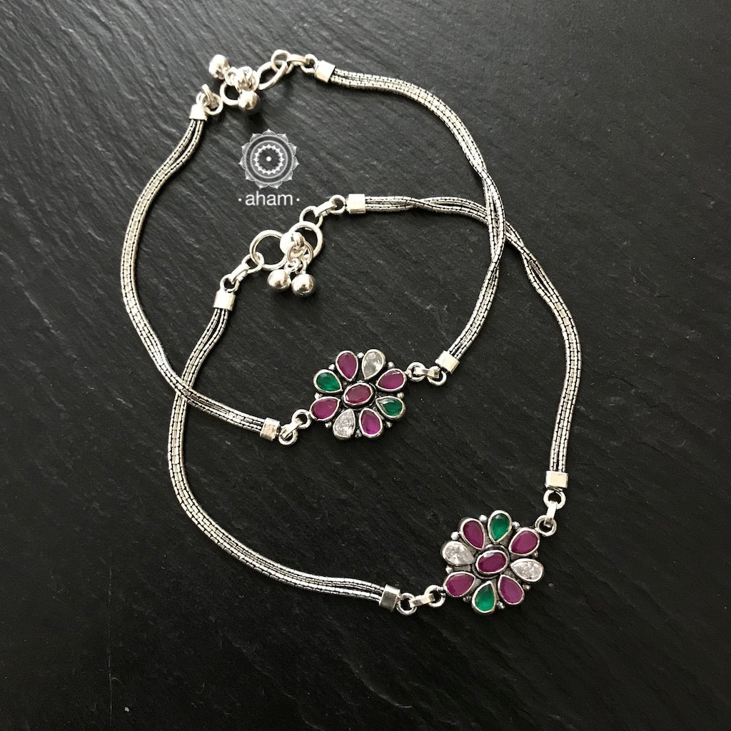 Silver Stone Flower Anklets
