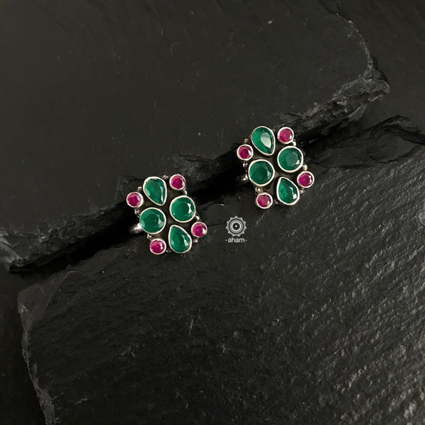 Silver Green Maroon Stone Toe Ring