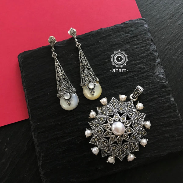 Silver Marcasite Pearl Earring and Pendant set