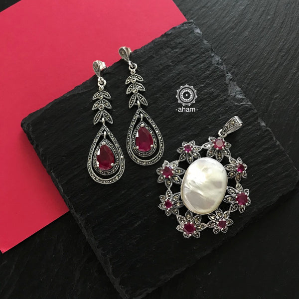Silver Marcasite Maroon Stone and Pearl Earring and Pendant set
