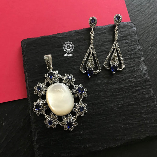 Silver Marcasite Blue Stone and Pearl Earring and Pendant set