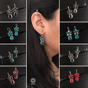 Summer Love Maroon & Green Flower Silver Earring