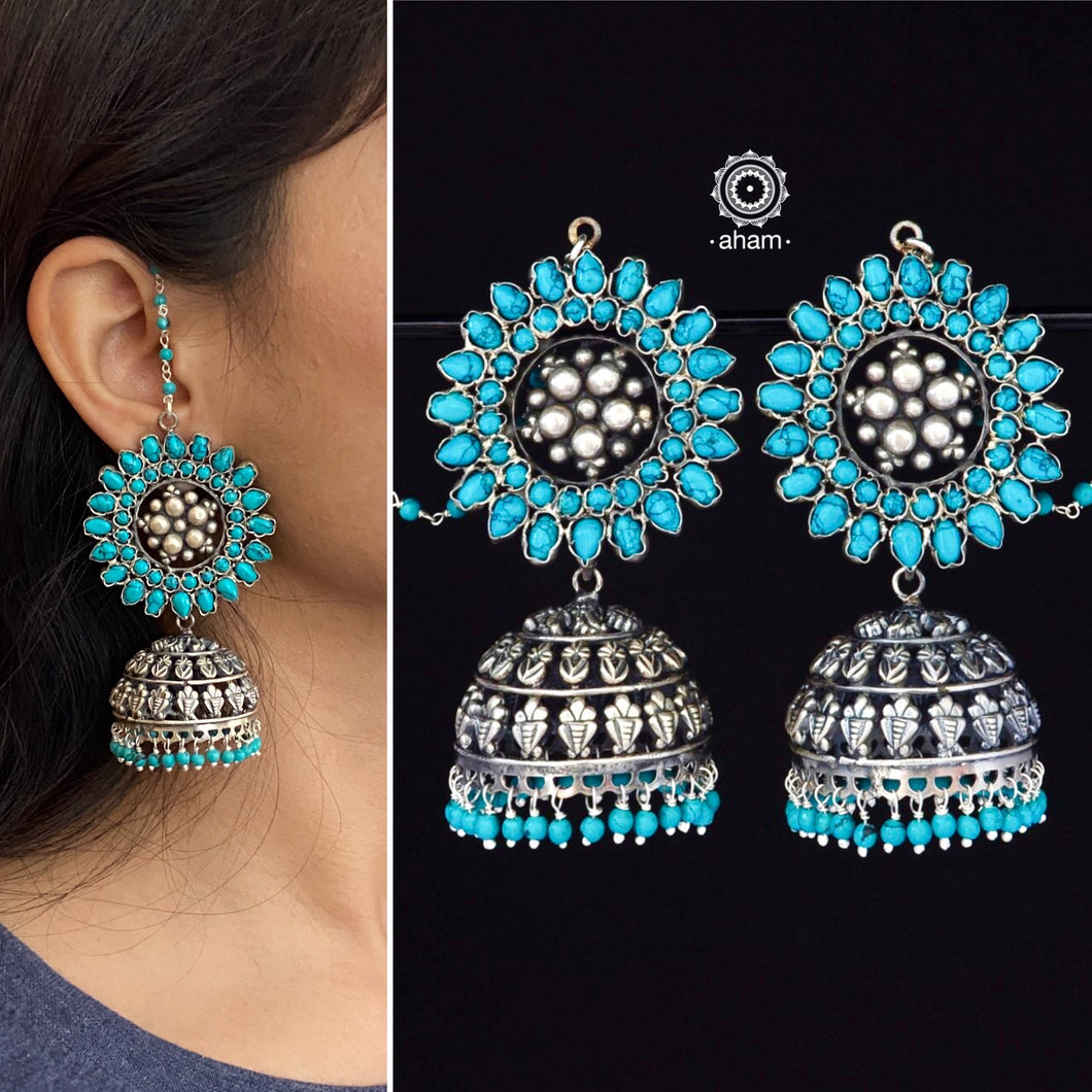 Turquoise Silver Jhumkie