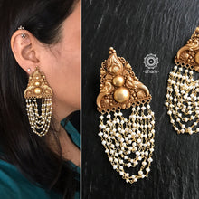 Dull Gold Polish Double Peacock Festive Earring