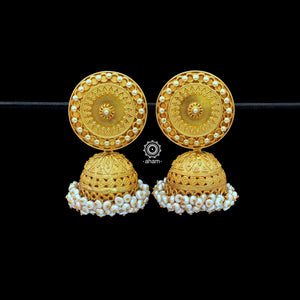 92.5 Sterling Silver Earrings with Gold Polish.  Laced with beautiful fresh water pearls