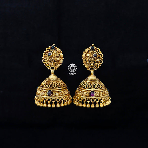 Handcrafted Silver Earrings with Gold Polish