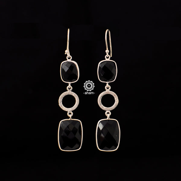 Beautiful 92.5 sterling silver earrings with semi precious stone setting