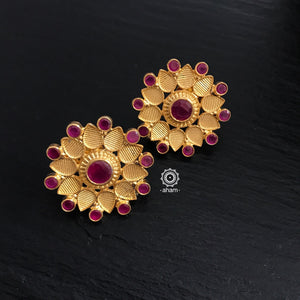 Gold Flower with Maroon Stones