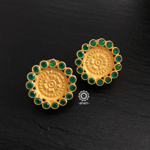 Gold Studs with Green Stones