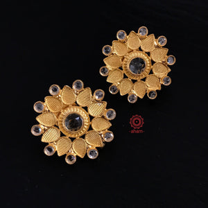Gold Flower with Zircon Stones