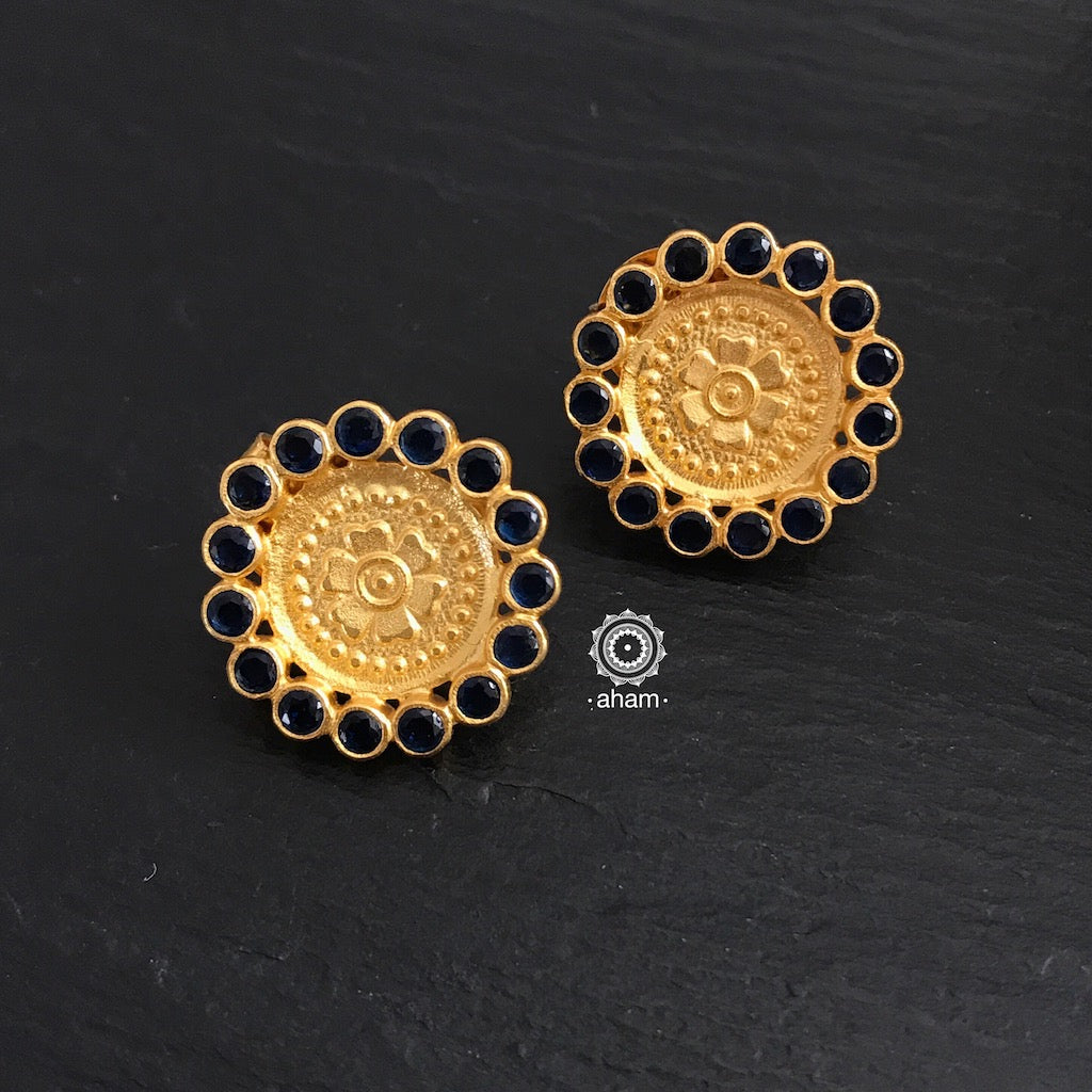 Gold Studs with Black Stones
