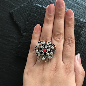 Orange Center Flower Ring