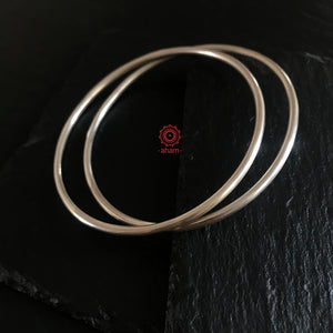 Everyday Silver Plain Bangles
