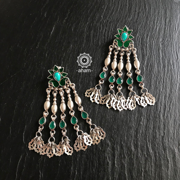 Silver earring, aham jewellery, handcrafted, india, green, rajasthan, floral, festive, dangler
