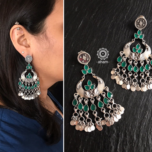 Silver earring, aham jewellery, handcrafted, india, rajasthan, floral, festive, dangler