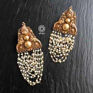 gold polish silver earring