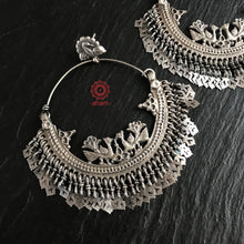 Over Sized Silver Peacock Hoops that are bound to make a statement