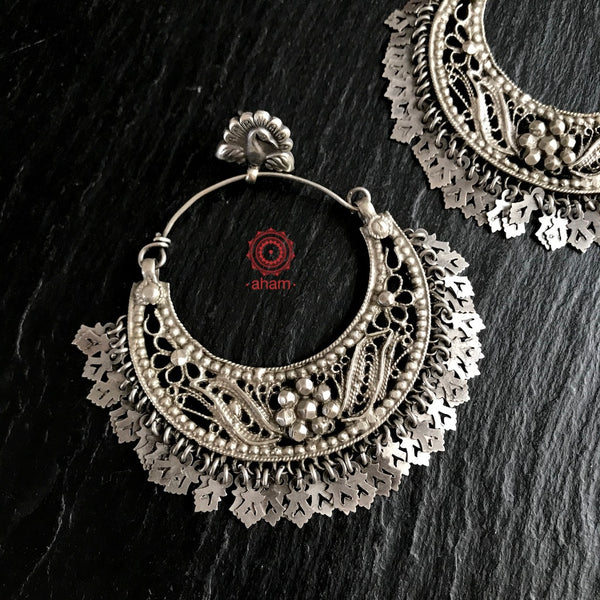 Oversized Silver Chandbali Earring