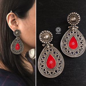 Red and Blue Rang Mahal Silver Earrings