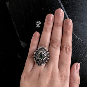 Nrityam Silver Ring with Green Stone