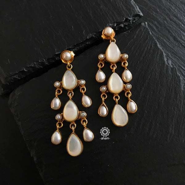 Silver Earrings with Gold Polish handcrafted silver jewellery from India