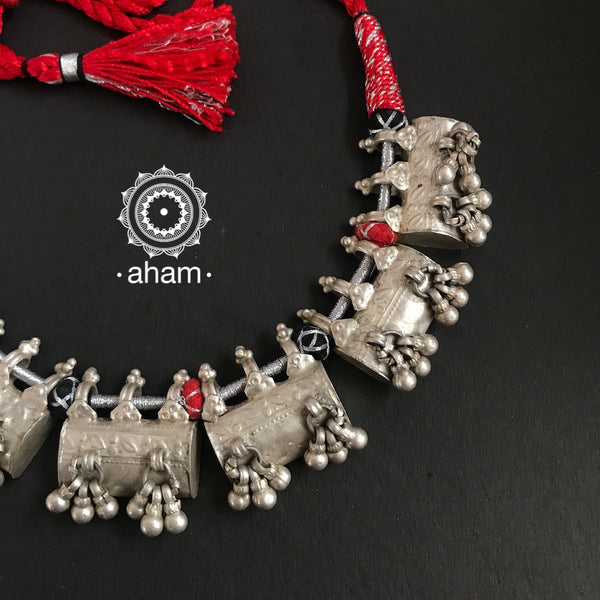 Tribal Neckpiece with silver amulets threaded together