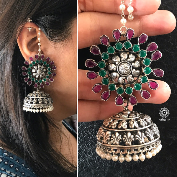 Maroon and Green Stone Jhumkie